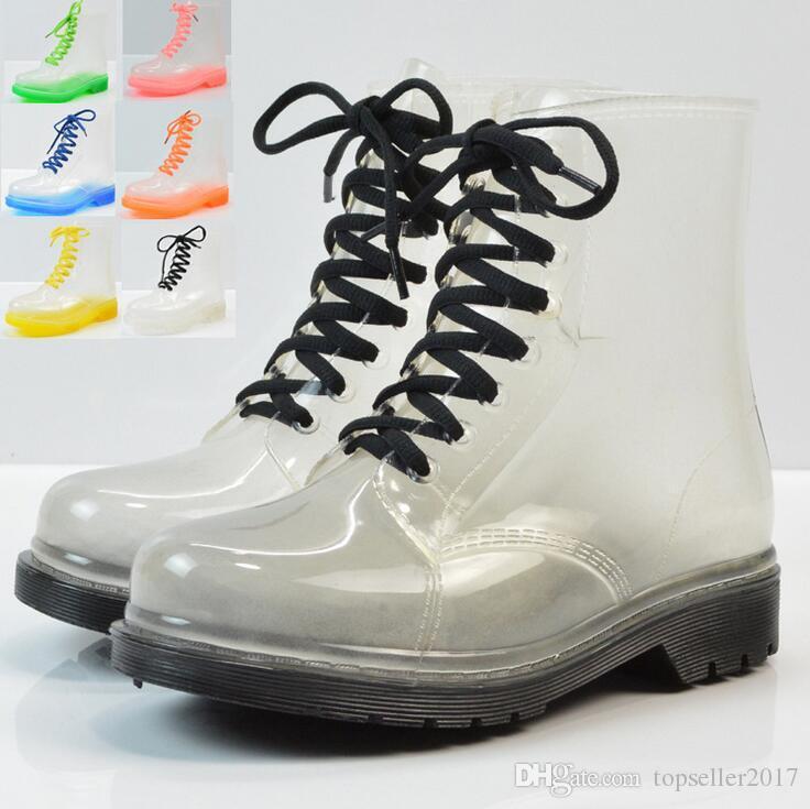 acheter femmes cheville bottes de pluie transparente plateforme de mode britannique a lacets pu etanche moto colore cheville martin bottes femme