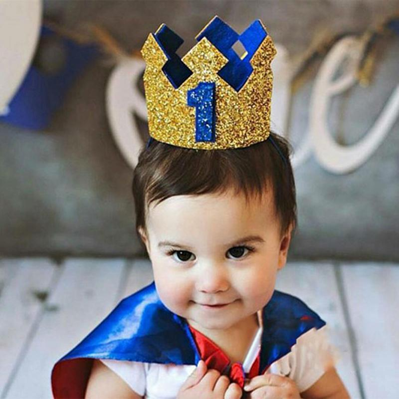 Boy First Birthday Hat Blue Gold Glitter Girl Gold Pink Princess Crown 1st 2 3 Year Old Party Baby Shower Decor Headband Princes From Caley 20 39 Dhgate Com