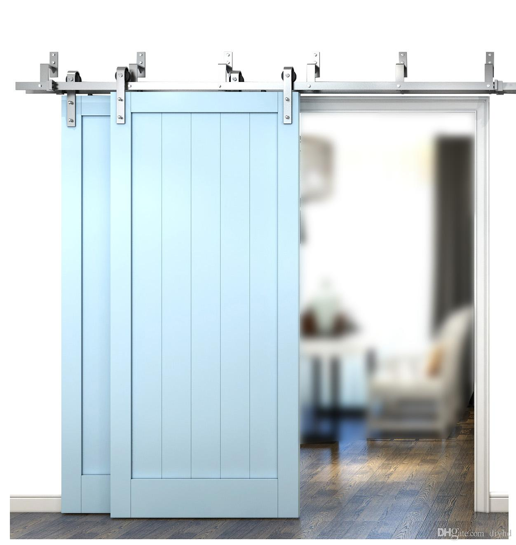 acheter diyhd 6ft 6 6ft 8ft brosse nichek grange porte coulissante materiel bypass double grange porte en bois suspendu ensemble sur rail de