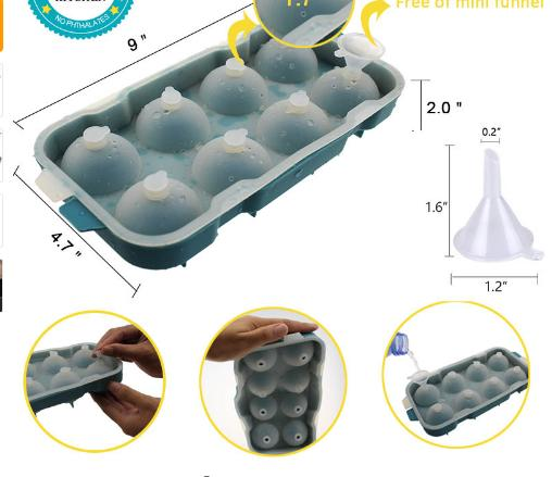 acheter 8 cellule creme glace moule silicone boule de glace cube moule sphere bac a glace formes rond cube plateau ball maker dia 4 5 cm de 13 4 du