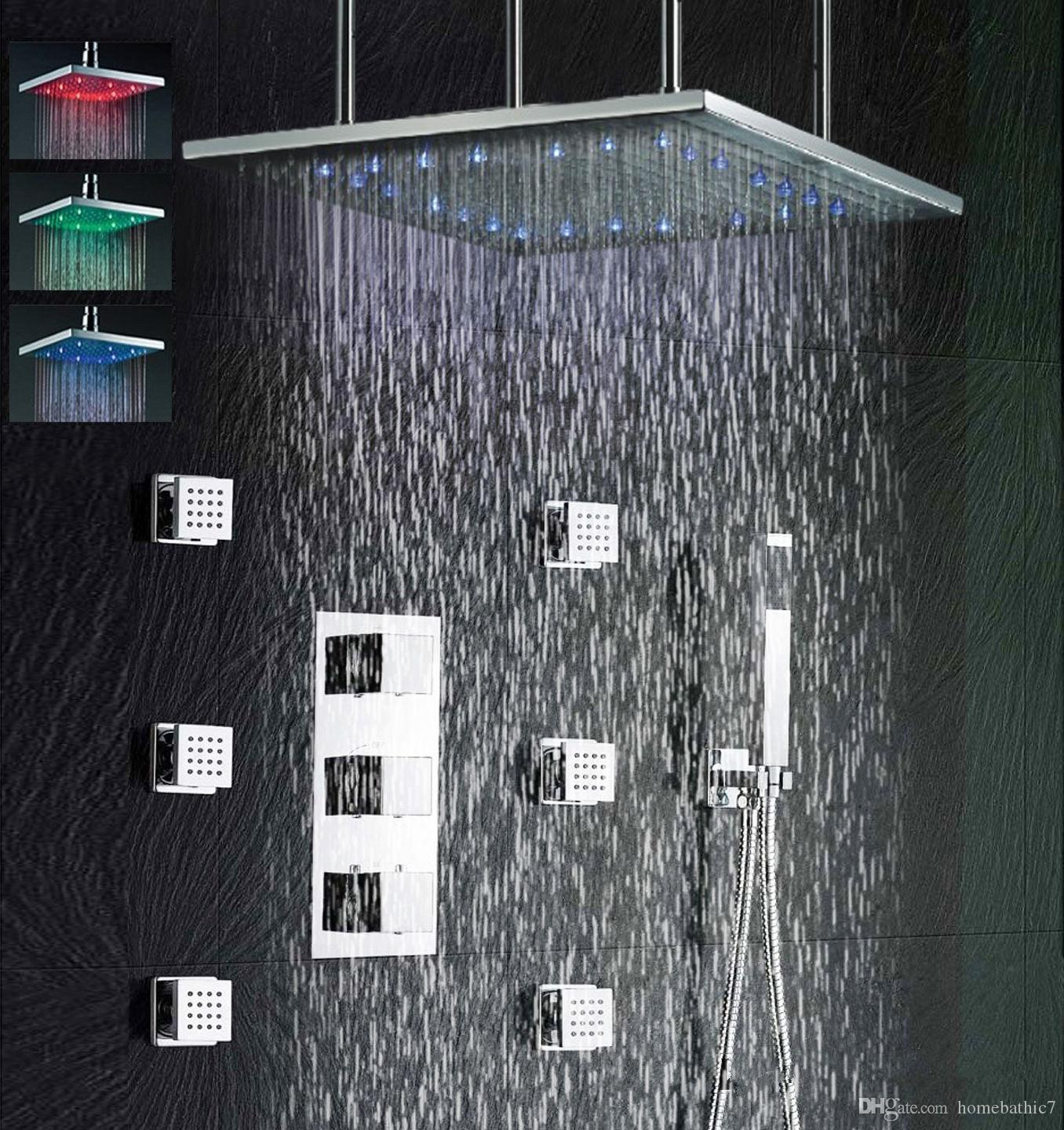 2019 Brushed Nickel 24 Led Rain Shower Head Brass Chrome Thermostatic Mixer Valve Set With Body Massage Jets Faucet From Homebathic7 804 02