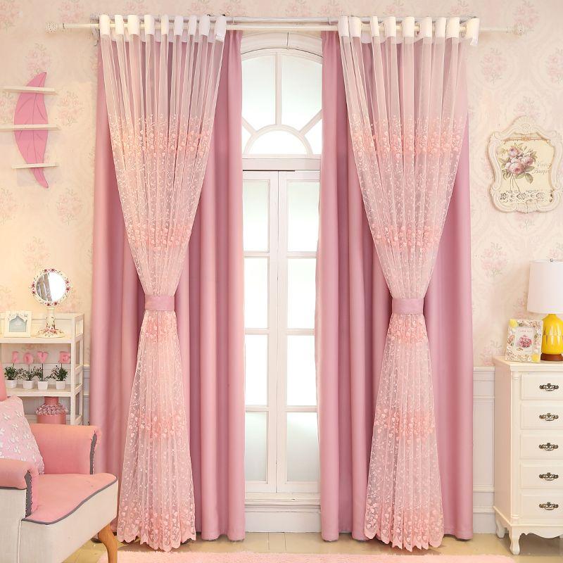 acheter rose rideau princesse vent fantaisie fille chambre coreenne chambre style enfants douce chambre double mariage rideau doccultation de 41 74