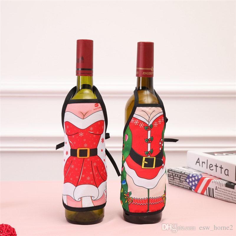acheter mini tablier de noel bouteille couverture de vin de noel sexy lady xmas chien santa bouteille de vin rouge wrapper vetement de bouteille robe