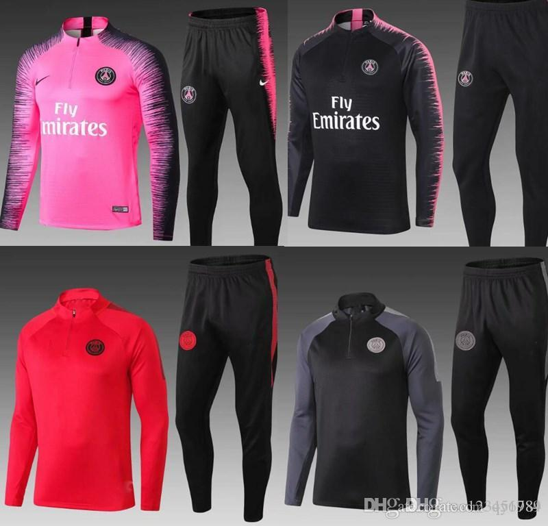 grosshandel psg pink erwachsene fussball trainingsanzug set 2018 2019 paris trainingsanzuge 18 19 mbappe lucas home football jacket kit traininganzug
