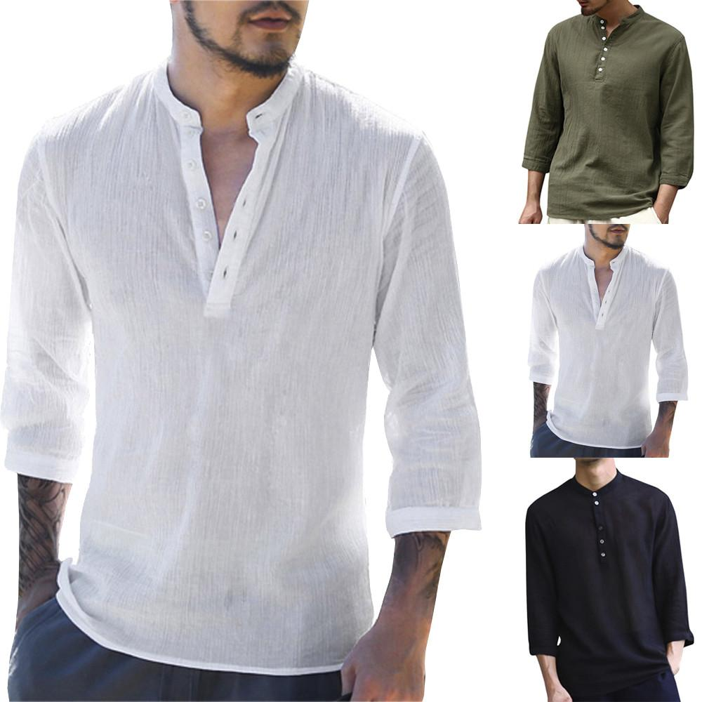 2020 2019 Mens Pullover Linen Shirts Short Sleeve Spring Summer Breathable Mens Quality Casual Shirts Slim Fit Solid Cotton Shirts Men From Seanliugao 15 62 Dhgate Com