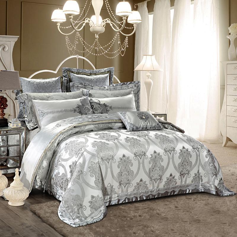 2018 european silver bedding set silk