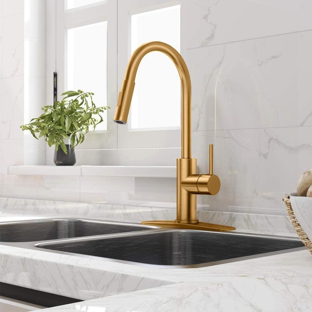 2021 gold kitchen faucet with pull down