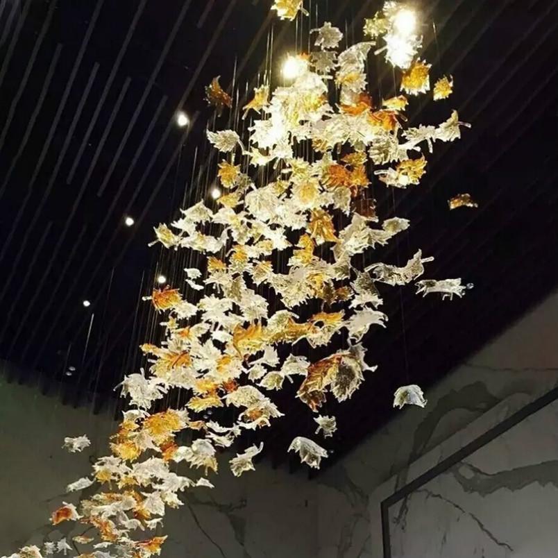 hotel maple leaf chandelier lighting