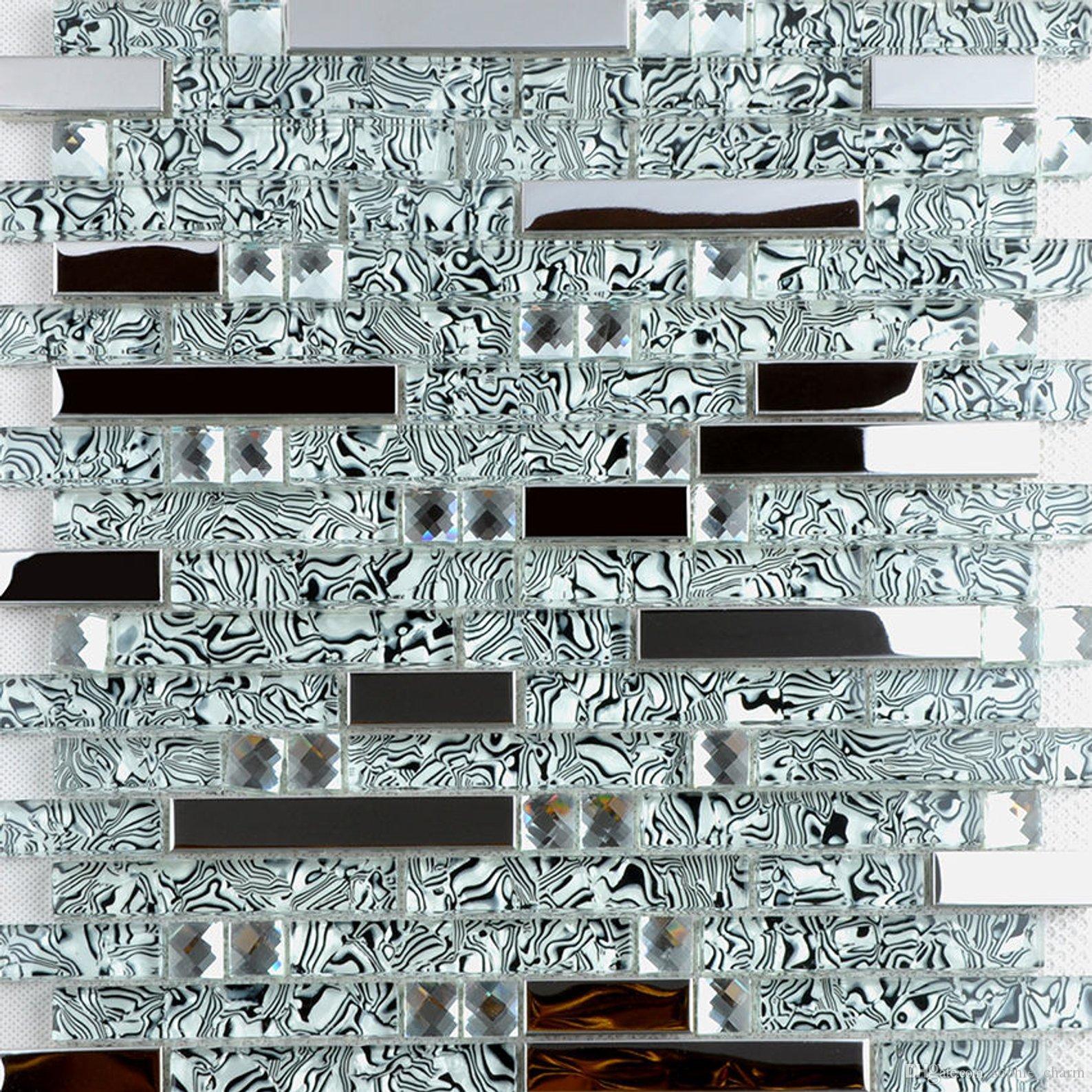 acheter carrelage cuisine en metal argente mosaique en verre noir blanc tuile argent verre dosseret acier inoxydable ssmt397 verre salle de bains