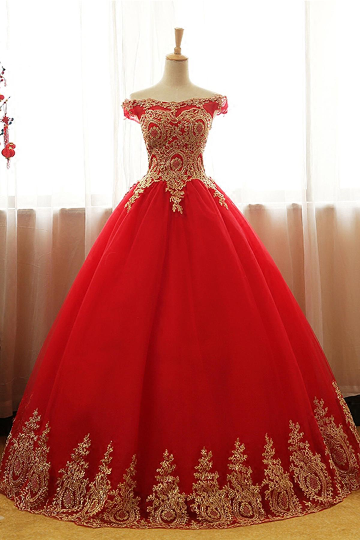 Off The Shoulder Red Quinceanera Dress With Gold Appliques Sweet 15 16 Birthday Party Dress From Weddres 150 76 Dhgate Com