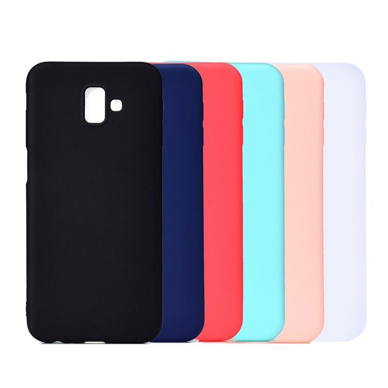 coque mobile cas de telephone pour samsung galaxy j4 plus j3 2018 j2 pro 2018 givre couverture arriere solide couleur simple doux tpu coque telephone