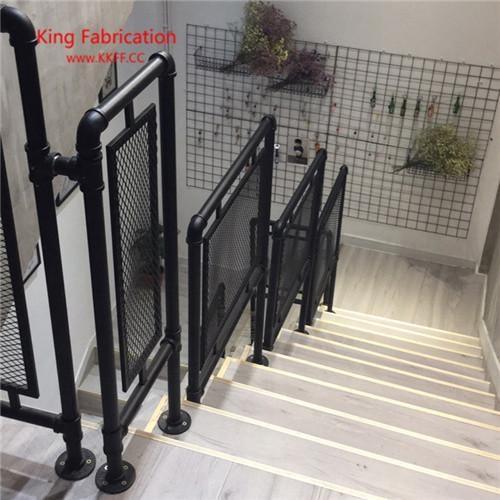 2020 Loft Retro Water Pipe Stair Railings Attic Railing Balcony   Black Iron Pipe Stair Railing   Staircase Railing   Industrial Style   Deck   Steel Pipe   Reclaimed Wood