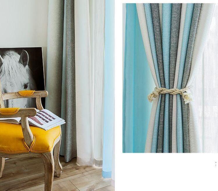 acheter rideau mediterraneen bleu gris ombre coton chambre balcon nordique tissu rideau salon fini simple moderne toutes les chambres de 40 01 du