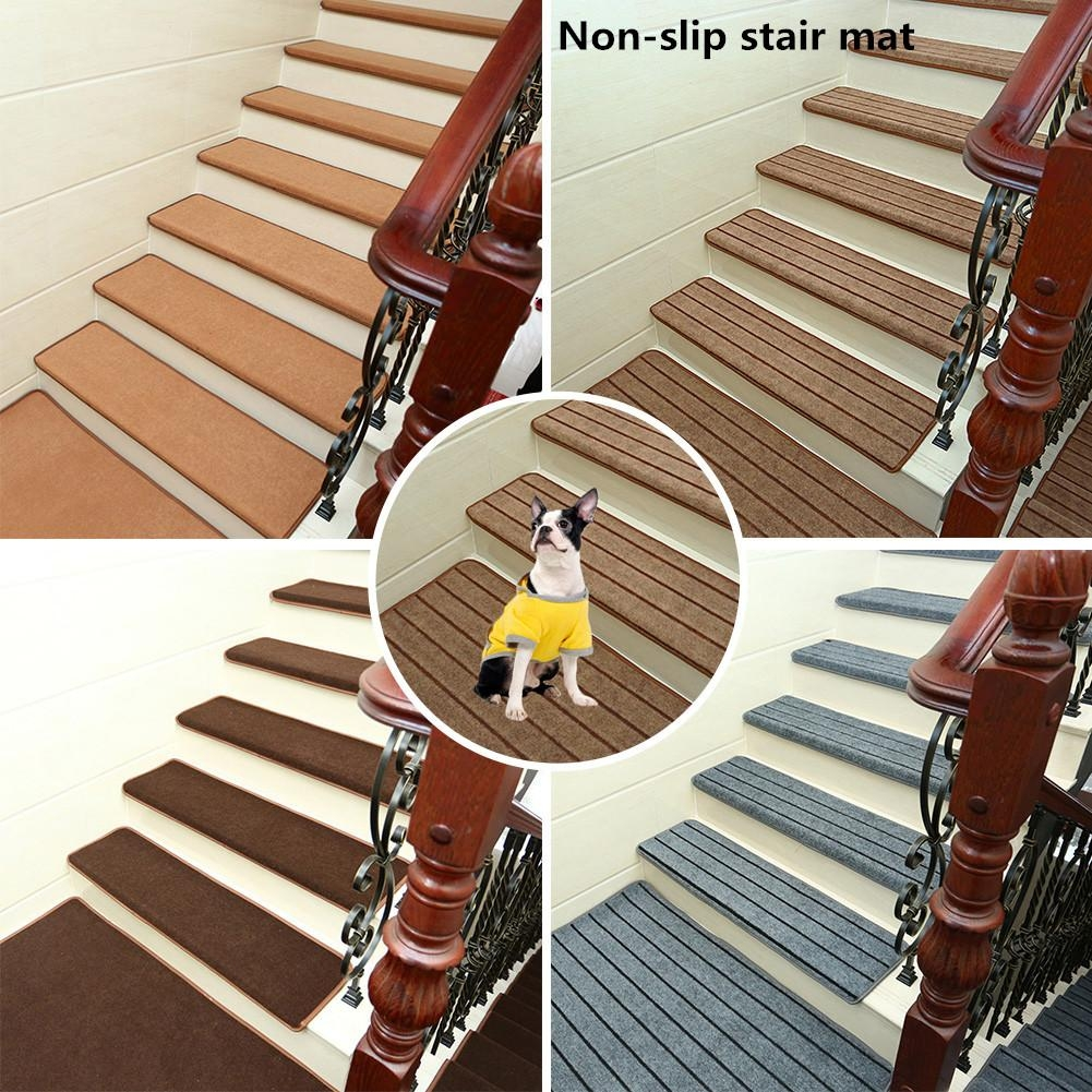 Non Slip Solid Wood Carpet Stair Treads Hard Floor Stair   Non Slip Carpet For Stairs   Trim   Laminate   Wood End Cap   Step   Rubberized