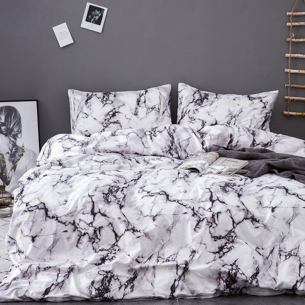 urijk printed marble bedding set white
