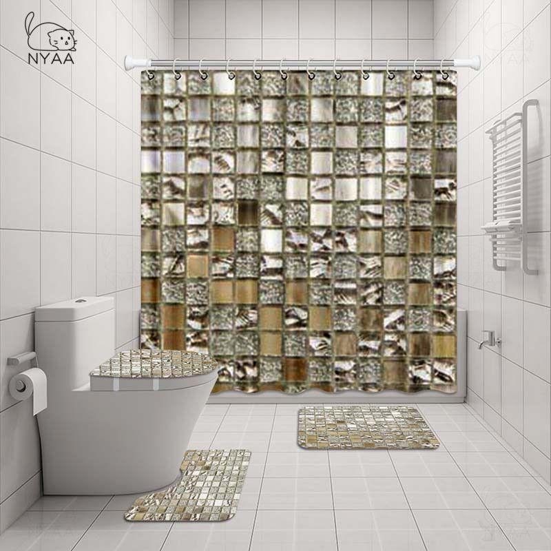 acheter nyaa mosaique decoration rideau de douche piedestal tapis couvercle couvercle de toilette tapis de bain tapis ensemble pour salle de bains