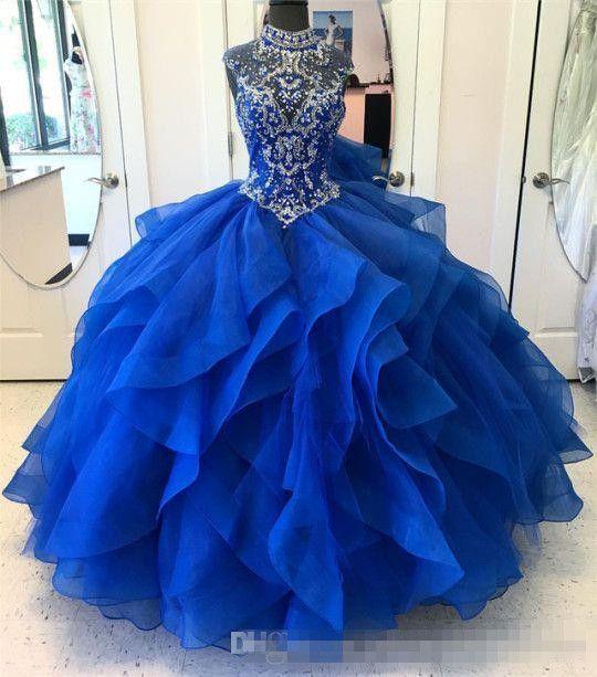 2019 Royal Blue Quinceanera Vestidos De Baile Frisado Doce 16 Vestidos Plus  Size Prom Party Vestido Vestidos De 15 Anos QC1350 De Queenshoebox, $936,38    Pt.Dhgate.Com