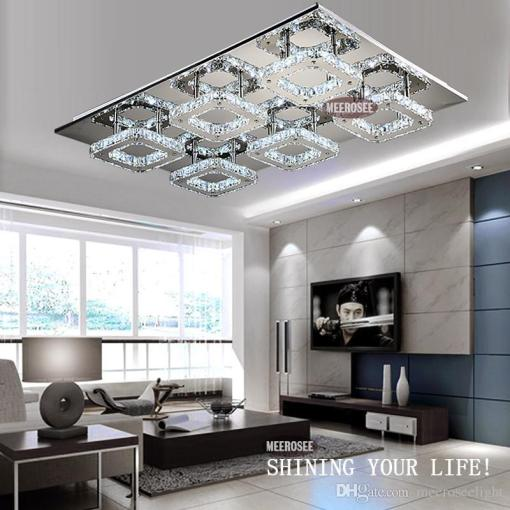 Modern Led Crystal Light Square Surface Mounted Lamp Crystal     Modern Led Crystal Light Square Surface Mounted Lamp Crystal Chandeliers  Ceiling Light Fixture For Foyer Living Room From China Ceiling Lights  Seller