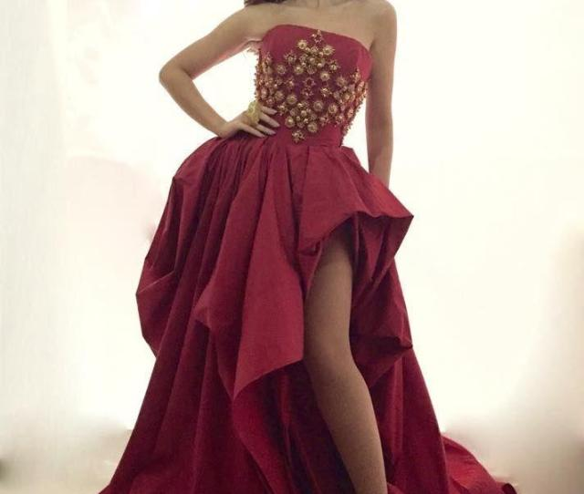 Dark Red Prom Dress Myriam Fares Sexy Formal Pagent Dresses Back Zipper Vestidos De Festa Formal Evening Gowns With Gold Beading Red Prom Dress Pageant