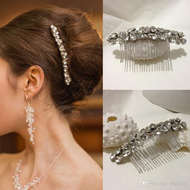bridal hair combs simple long strip elegant cystal glass beads side wedding comb accessories bridesmaid prom headpieces bridal comb online bridal prom hair