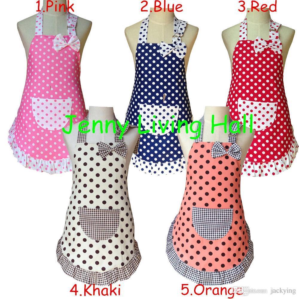 Apron Child Cute Cotton Polka Dots Apron Kids Apron For