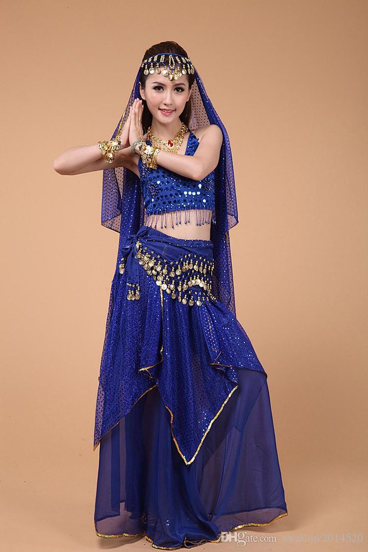 2020 2016 Hot New Egyptian Belly Dance Costume Top&Skirt ...