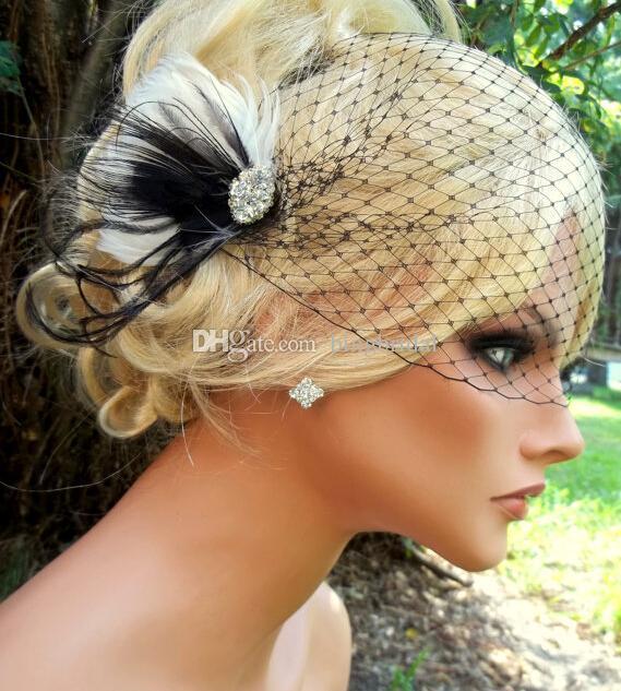 New Vintage Birdcage Veil Black White Bridal Fascinator