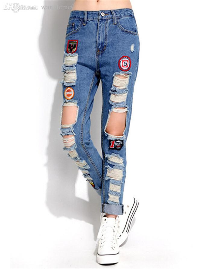 2018 2015 New Womens Ripped Jeans With Patches 100 Cotton