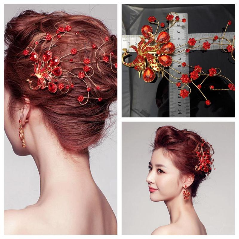 red bridal hair accessories comb bridal head decoration phoenix wedding party events beautiful 2015 tiaras handmade hairstyle bridal hairstyle bride from