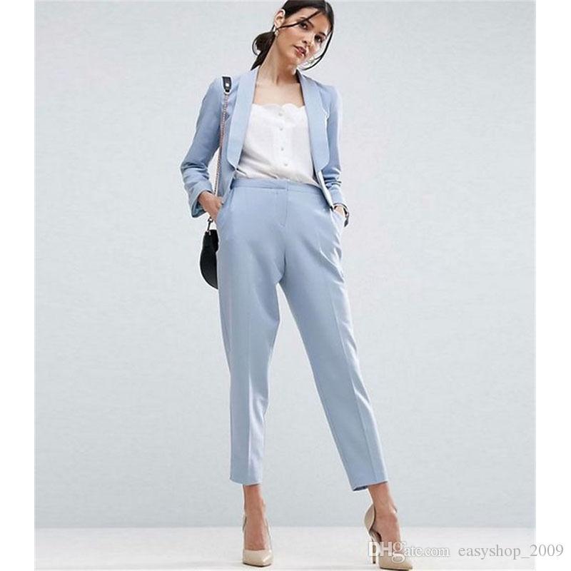 2020 Light Sky Blue Women Business Suits Formal Office