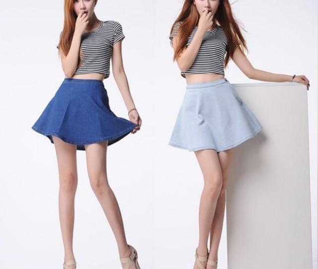 2019 Women Girls Summer Denim A Line High Waist Circle Pleated Sexy Skirts Mini Skirt From Bing Dhgate Com