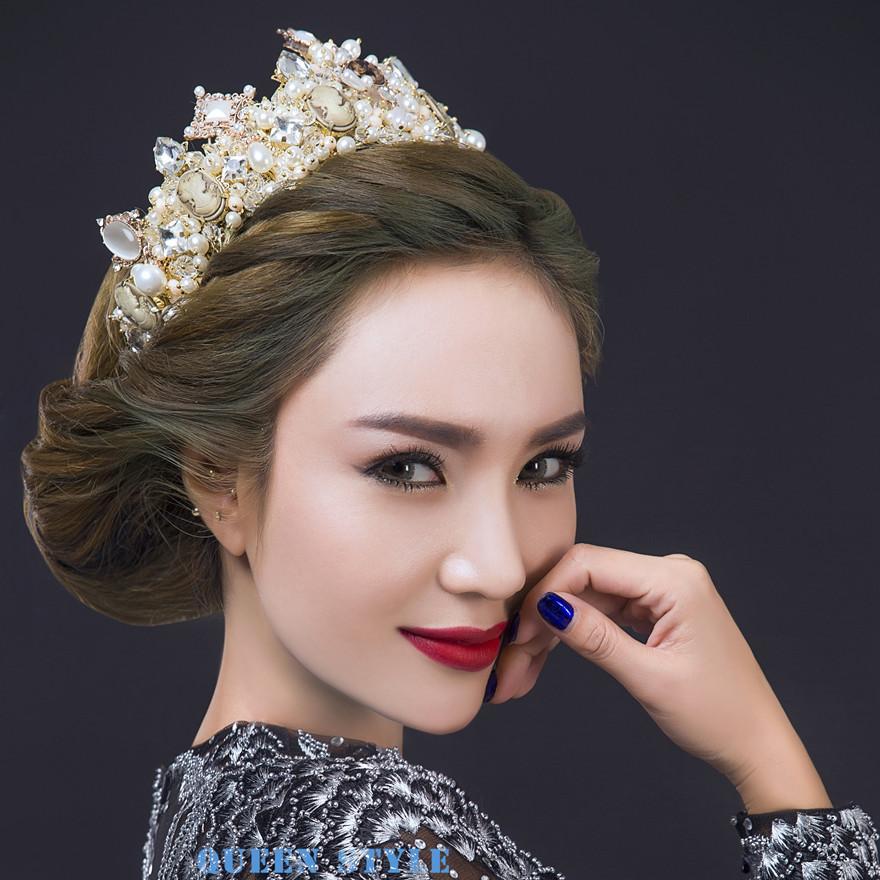 luxury wedding crown tiaras hair accessories marilyn monroe earrings pearl bridal accessories pageant crowns tiaras clear rhinestones new arrival wedding