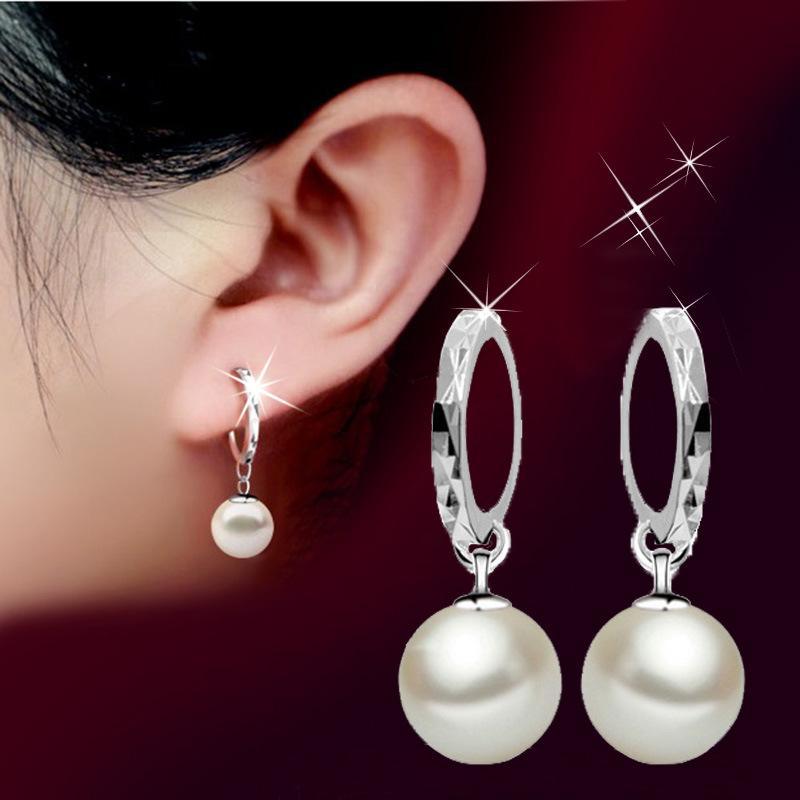 925 Silver Pearl Earrings Ear Buckle Female Hoop Earrings
