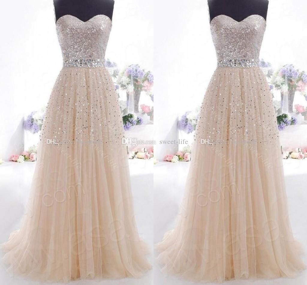 2015 Cheap Prom Dresses Champagne Sweetheart Lace Up Bling Sequins In Stock Formal Party Queen