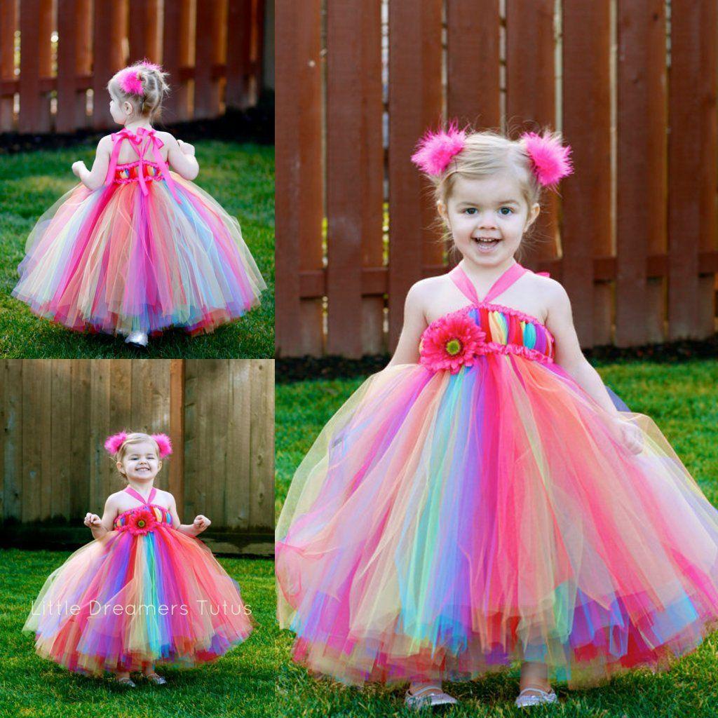 Colorful Rainbow Flower Girls Dresses Halter Neckline