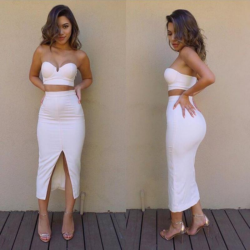 Sexy Club Dress Strapless Set Women Two Piece Outfits Warm Fabric ...