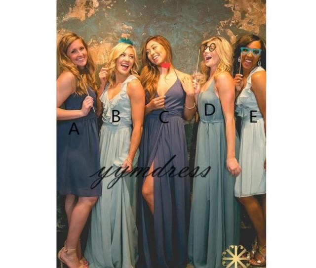 Groshandel Sexy Brautjungfernkleider 2019 Eine Linie Spaghetti Hals Ruckenfrei Split Bodenlangen Afrikanische Trauzeugin Kleider Hochzeitsgast Kleid Plus
