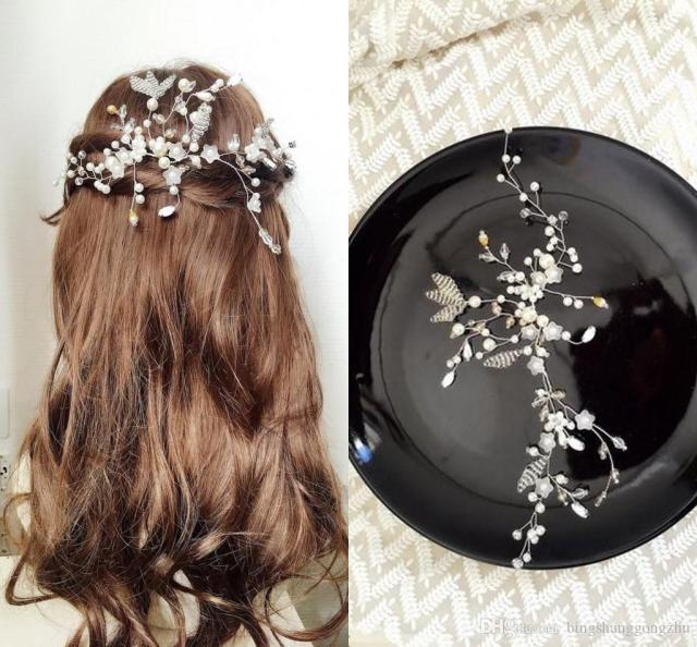 romantic pearl crystal bridal hair vines diy forehead wedding headpiece handmade bridal hair accessories wedding hair piece