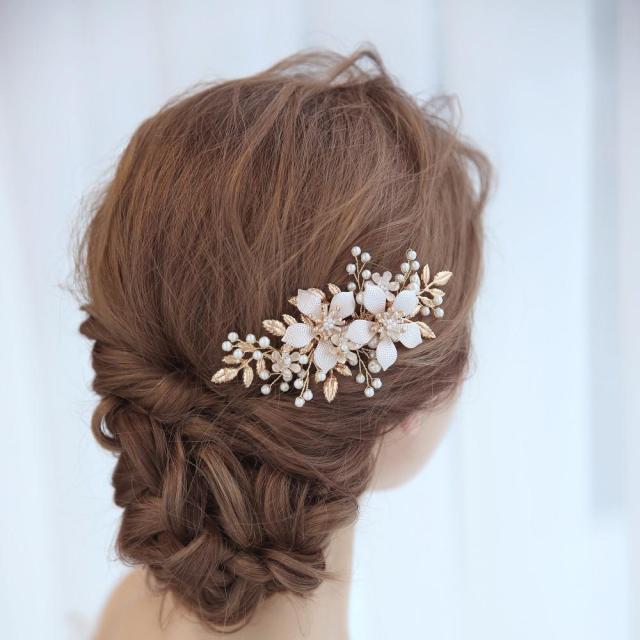 gold color leaf hair combs bridal hair jewelry pearl flower wedding handmade hair ornament rhinestone elegant head comb