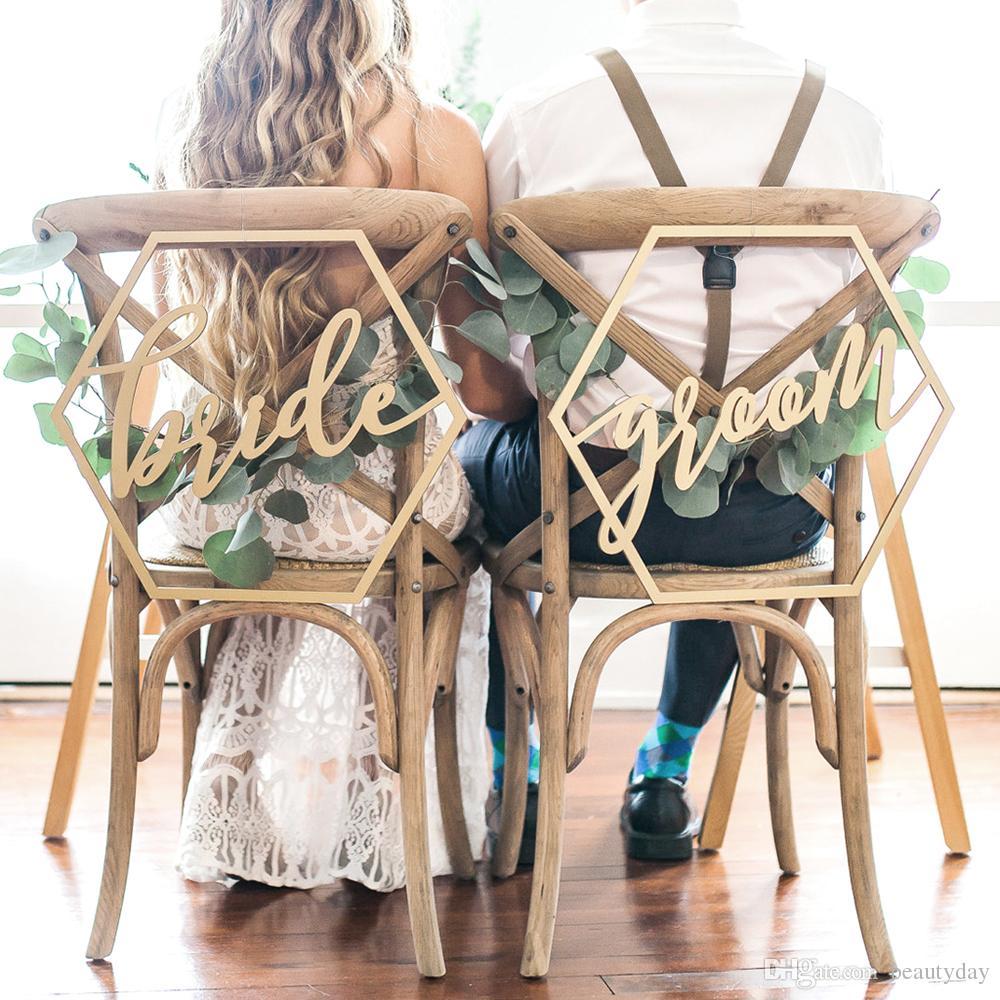Sedia In Legno Banner Chair Bridegrooms Iscriviti Fai Da Te Decorazione Di Cerimonia Nuziale Per L Impegno Forniture Per Feste Di Nozze Ordine All