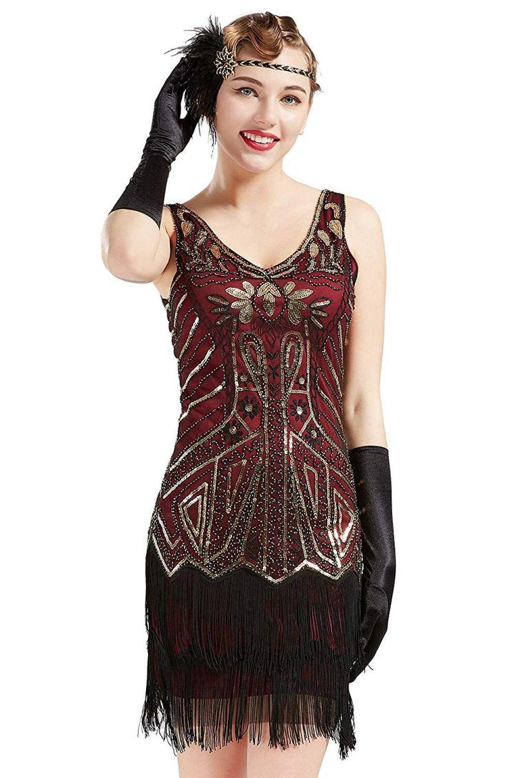 2019 QUALITY Women'S Flapper Dresses 1920s V Neck Beaded ...