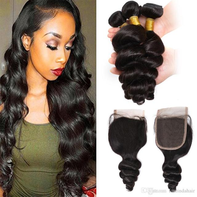 malaysian weave wholesale loose curl human hair bundle with lace closure 1 pc malaysian loose wave closure with 3 bundles hair weaves
