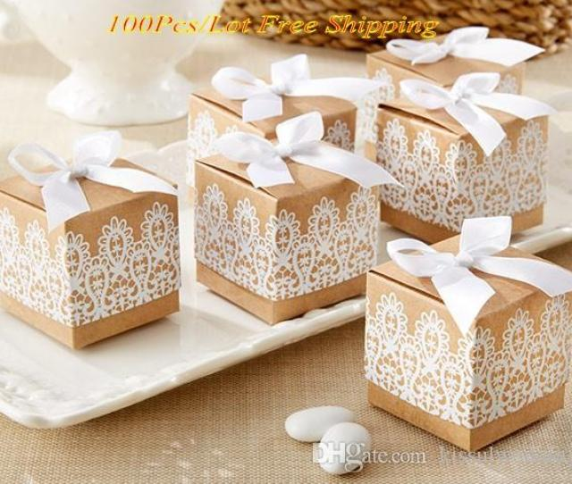 2016 Creative Wedding Gift Box Of Rustic And Lace Kraft Favor Box For Wedding And Party Decoration Candy Box And Party Favor Box Party Favor Boxes Wholesale