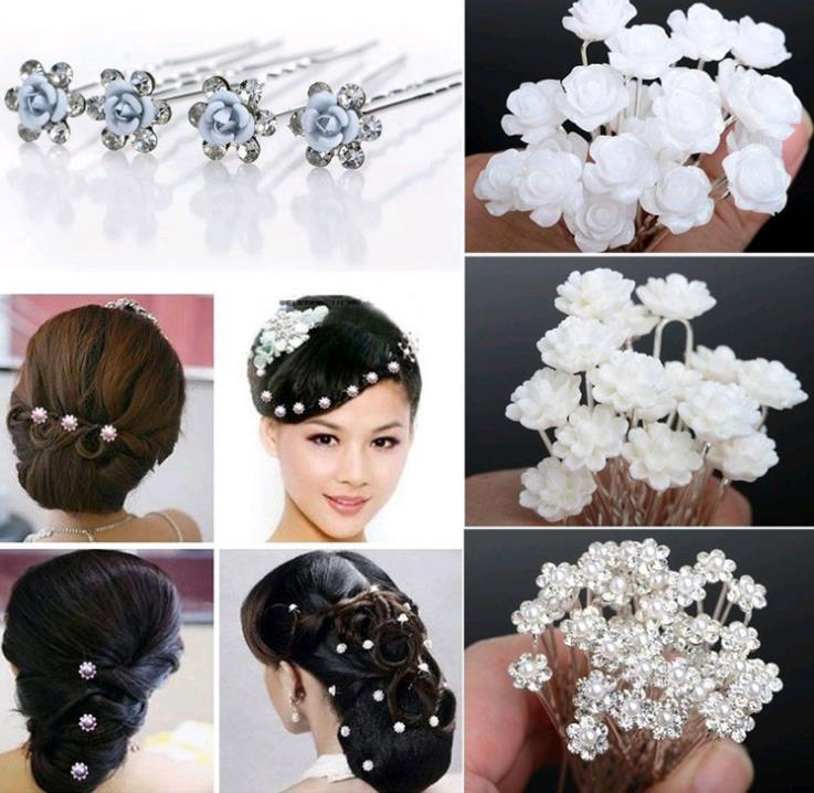 Wedding Bridal Pearl Hair Pins Flower Crystal Hair Clips