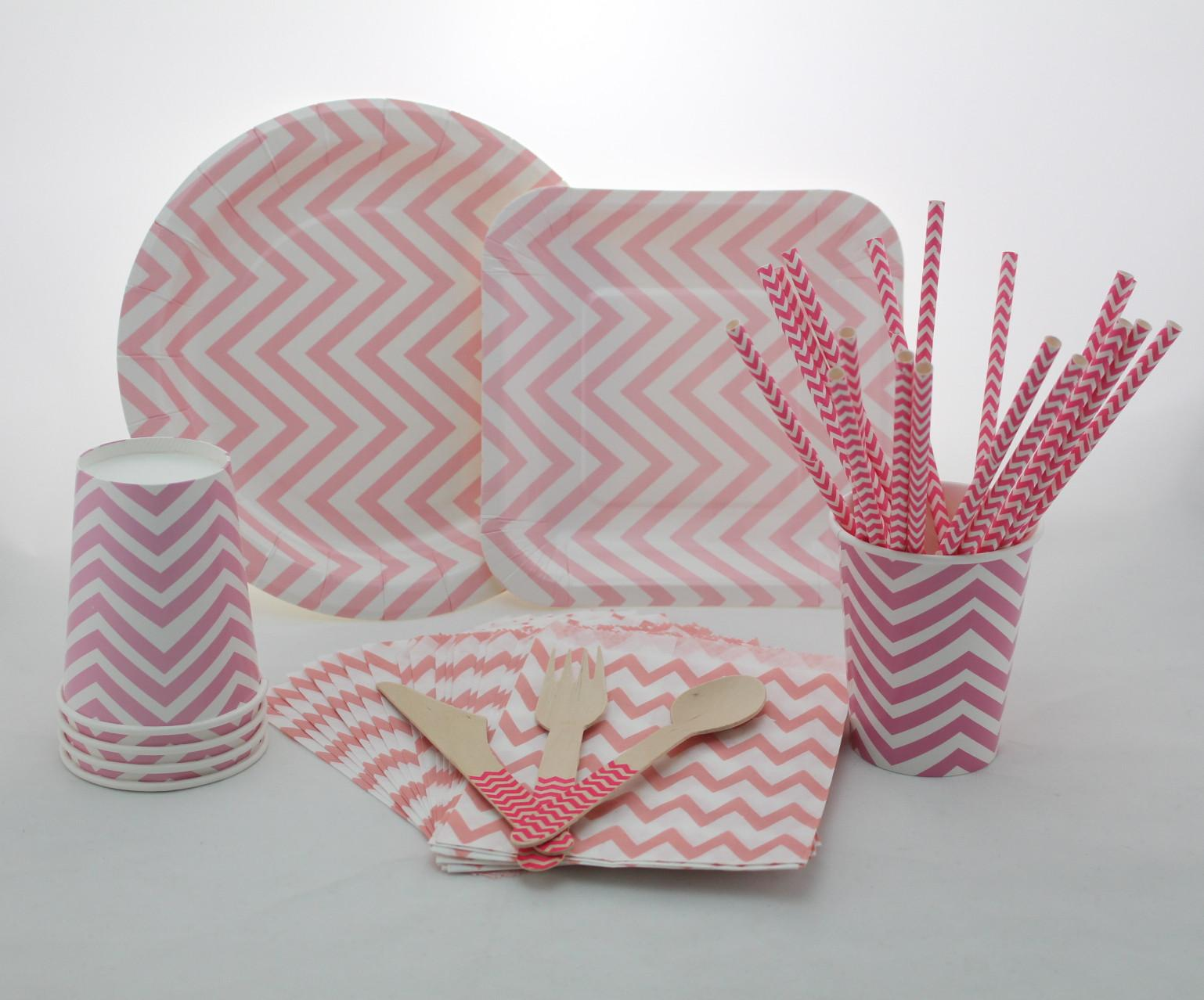 2017 Pink Chevron Tableware SetWedding Party Paper Plates