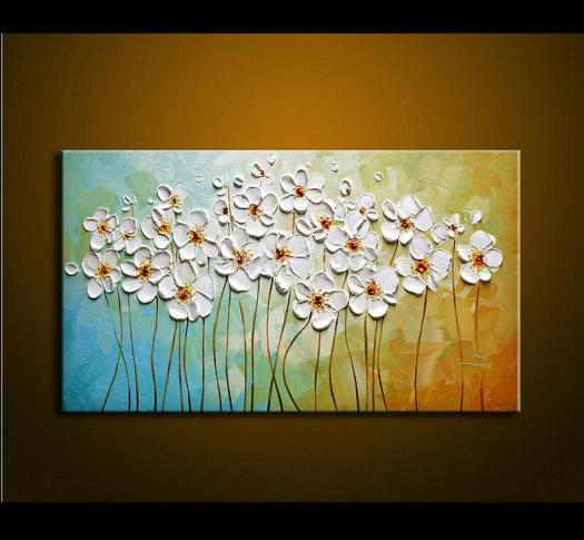 2018 Hand Made Modern Oil Painting Palette Knife Thick Paint White Flowers Home Decoration Abstract Canvas Picture From Hongkongart
