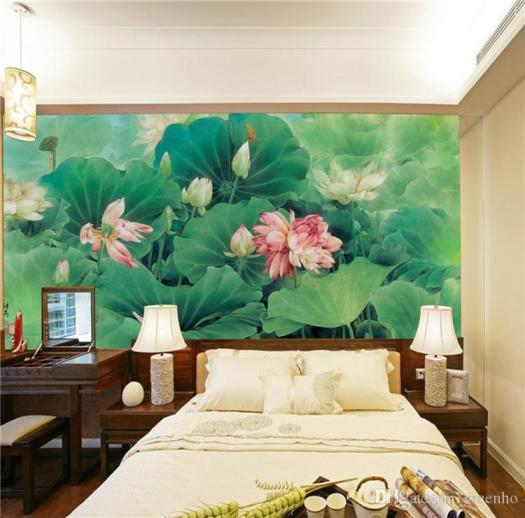 Chinese Painting Photo Wallpaper Silk Wall Mural Lotus Pond Art Decal Natural Scenery Hotel Background Bedroom Kids Room Home Decor Christmas Desktop