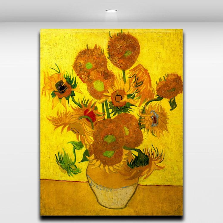 2017 Van Gogh Famous Works Golden Sunflower Abstract Oil Painting Printed On Canvas For Home