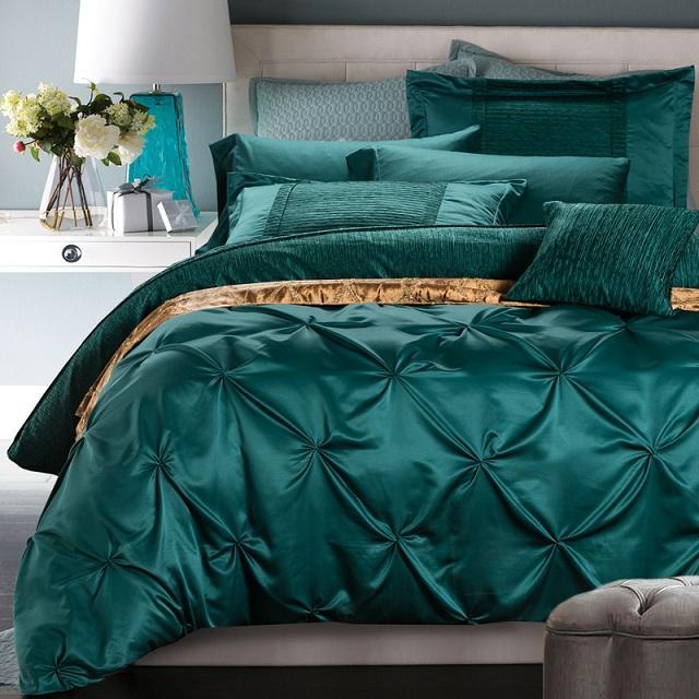 acheter ensemble de literie de luxe bleu vert lit housse de couette dans un sac draps couvre lits queen king size double concepteur drap de lit en lin de