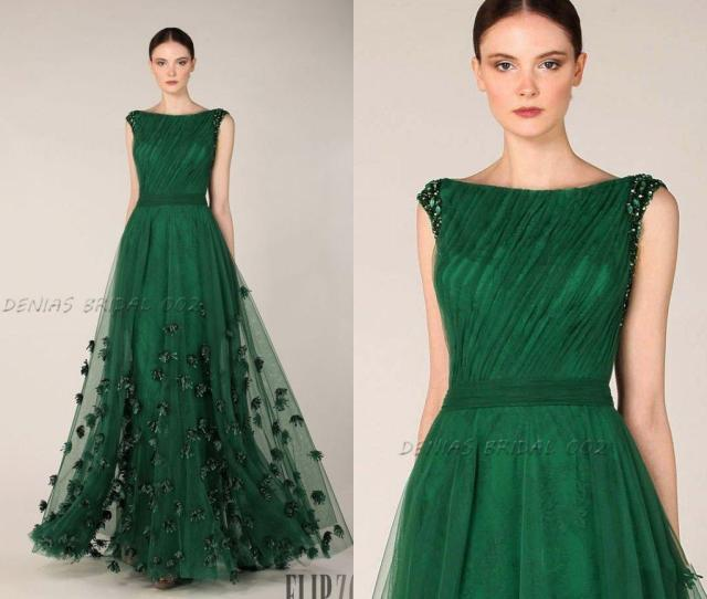 Emerald Green Prom Dresses Formal Evening Gowns Bateau Neckline Cap Sleeves Tulle Appliques Flora Wedding Party Dress Mermaid Evening Gowns Pageant Dress